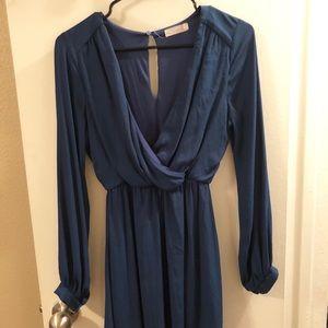 Long-sleeve flirty blue dress